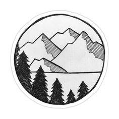 Pencil Art Drawings, Cool Art Drawings, Doodle Drawings, Art Drawings Sketches, Easy Drawings, Doodle Art, Cool Simple Drawings, Tree Drawings, Mountain Drawing Simple