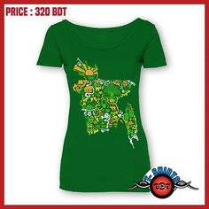 Description Exclusive Stylish 100% Unique Design!! Women's T-Shirt Brand New Designs || Grab your copy before stock out!! DesignName  : BD Map Product Code