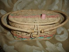 Vintage Wicker Child's Sewing Basket by FTDA Hong Kong & Child's Plastic Thimble