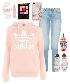 """Pink is the new black"" by kyleyg23 on Polyvore featuring Topshop, Converse, adidas, Forever 21 and Yves Saint Laurent"