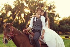 Adorable wedding pic (and they rode off into the sunset)