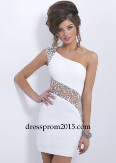 71b57c43fa5 2016 Little White Sparkly Crystal Cocktail Dresses One Shoulder Cap Sleeves  Illusion Backless Beaded Short Prom Party Dresses