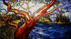 Arbutus with tanagers Arbutus Tree, Pacific Ocean, West Coast, Mother Nature, Sea Shells, Life Is Good, Gallery, Drawings, Artwork