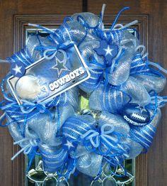 Deco Mesh Deluxe SILVER DALLAS COWBOYS Wreath by decoglitz on Etsy, $125.00