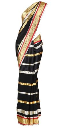 Diagonal gold and silver gota striped, black georgette saree with a red and gold border. It comes with a matching blouse piece by ABU JANI & SANDEEP KHOSLA. Shop at www.perniaspopupshop.com