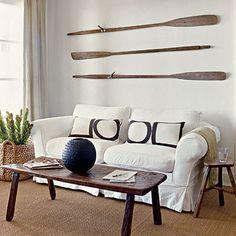 Repurposed oar decor