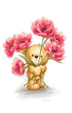 Cute bear holding and peeking through big red flowers, Thank you card. Cards are shipped the Next Business Day.