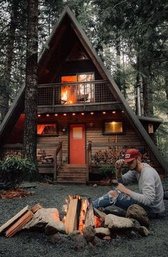Cabin A- frame - rather different, but I like it! #LogHomeDecorating