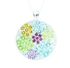 "Sterling Silver Multi-Gemstone Flower Pendant Necklace, 18"""