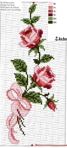 Ricami e schemi a Punto Croce gratuiti: Fiori fiori da ricamare a puntocroce - Rose