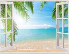 Playa pared calcomanía 3D de la ventana etiqueta de la pared