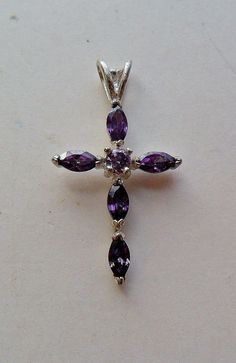 Sterling Silver Purple Stone Cross Pendant by onetime on Etsy, $6.25