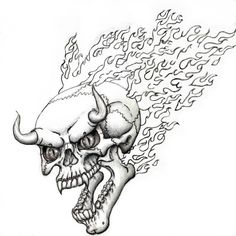 Flaming Skull Coloring Pages | flaming devil skull flash by ~SteevDragon on deviantART