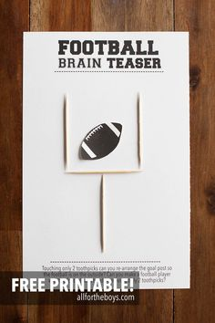 Printable football brain teaser - perfect for a Super Bowl or football party! | Cozy Winter Ideas