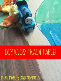 DIY kids train table and race activity Cool Gifts For Kids, Kids Gifts, Diy For Kids, Crafts For Kids, Train Activities, Preschool Activities, Preschool Classroom, Kindergarten, Games For Kids