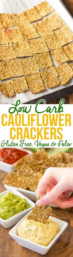 Home Made Doggy Foodstuff FAQ's And Ideas Low Carb Cauliflower Crackers Recipe - This Amazing Gluten Free, Grain Free, Paleo, Vegan Cracker Recipe Will Fit Into Any Diet So Tasty, You Won't Even Miss The Grains Via Spicyperspectiv Healthy Low Carb Recipes, Gluten Free Recipes, Real Food Recipes, Healthy Snacks, Keto Recipes, Vegetarian Recipes, Snack Recipes, Low Carb Crackers, Vegan Crackers