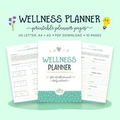 This printable wellness planner pack includes 10 pages, 6 of which are worksheets to help you reach your wellness goals. The main focus of this planner is for you to work on 6 key areas that affect your overall well being, Physical Health, Mental Wellness, Confidence, Stress