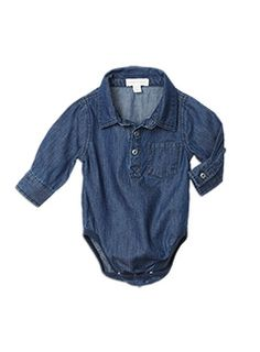 Baby Boys + Accessories Denim Long Sleeve Bodysuit Indigo Denim bodysuit