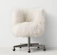 Kinney Mongolian Lamb Desk Chair Pewter