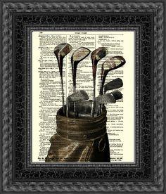 Golf-Print auf 115 Jahre alten Wörterbuch Seite, Wörterbuch-Kunstdruck, Golf Club Kunst, Wall Decor, Kunstdruck, Mischtechnik, digitale Kunst