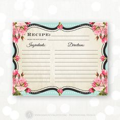 Printable Recipe Cards Chalkboard Teal & Pink Rose by AmeliyCom
