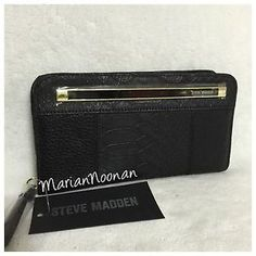NWT Steve Madden Black Panel Zip Around Wallet Bifold Gold MR108910