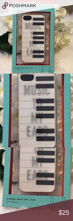 "Kate Spade iPhone 5 case in Piano Keys NWT Whimsical iPhone 5 case by Kate Spade in cute ""Music To My Ears"" design. Plastic snap on hard case. New with tags. kate spade Accessories Phone Cases"