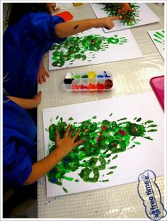 """Handprint Christmas tree with fingerprint decorations - from Free Time Workshop ("""",)"""