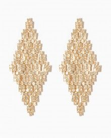 Shop online for fashion jewelry like this pair of pixel-inspired rhinestone earrings. This glam style features a cascading diamond shape created by a cluster of square-cut rhinestones.