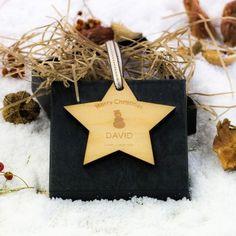 Engraved Maple Wood Star Angel In Memory Decoration Mustache Decorations, Snowflake Decorations, Snowman Decorations, Snowflake Designs, Christmas Decorations, Wooden Christmas Ornaments, Wood Ornaments, Christmas Love, Christmas Gifts
