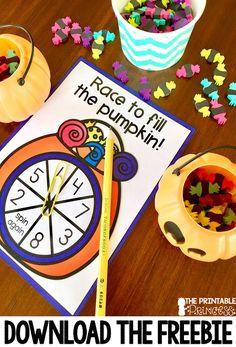 Halloween for Kindergarten {Simple, Fun, and Free! Kindergarten Centers, Kindergarten Classroom, Literacy Centers, Math Stations, Kindergarten Crafts, Classroom Ideas, Elementary Math, Beginning Sounds Kindergarten, Fall Preschool