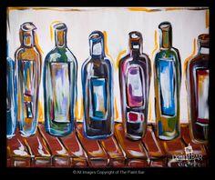 Funky Wine Bottles www.thepaintbar.com