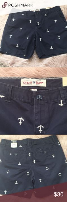 """Bass shorts size 8 BNWT bass & co anchor shorts size 8. 100% cotton. 5"""" inseam. Brand is from Wilton Maine gh bass Shorts"""