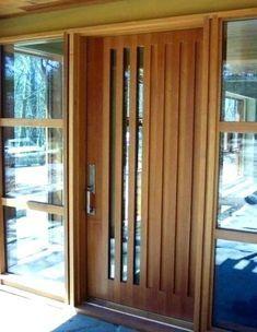 Modern Door Texture Modern Wood Front Door With Vertical Glass Panes Mid Century Exterior Contemporary Front Doors Entrance Door Design Entry Doors With Glass
