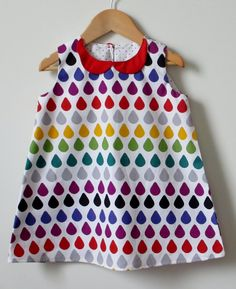 Children clothing - Rainbow Raindrops babydoll dress girl baby toddler dress..sizes 6mo, 1T 2T 3T 4T 5 kids children dress girlsandboys. $30.00, via Etsy.