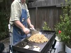 Pork and shrimp fried rice on Blackstone griddle cooking station Hibachi Recipes, Grilling Recipes, Cooking Recipes, Seafood Recipes, Flat Top Griddle, Griddle Grill, Outdoor Griddle Recipes, Bbq Drinks, Blackstone Grill