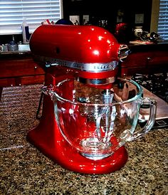 I need this big baby right now! Oh My goodness! I need this in cinnamon. If I don't get this I'm going to lose it! What am I waiting for? I need to go shopping smh. It's time for the old Sunbeam to go lol.Measuring cup for the KitchenAid! Red Appliances, Cooking Appliances, Cooking Gadgets, Kitchen Gadgets, Electrical Appliances, Kitchen Aid Mixer, Kitchen Utensils, Kitchen Appliance Storage, Red Kitchen Decor