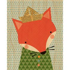 Petit Collage | Shy Fox Print on Wood