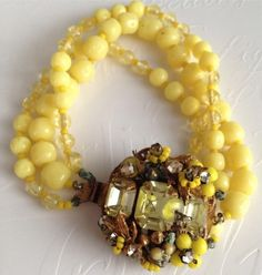 Beautiful Vintage Miriam Haskell Yellow Glass Bead Rhinestone 3 Strand Bracelet   eBay
