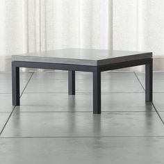 Parsons Concrete Top/ Dark Steel Base 36x36 Square Coffee Table - Crate and Barrel