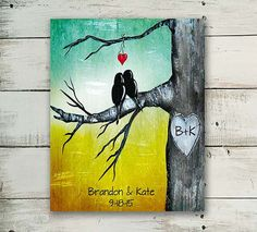 Custom First Anniversary Gift Personalized Print Love Birds Wall Art Engagement…