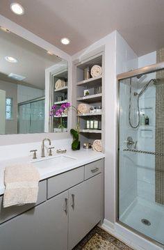 Recessed shelving over vanity