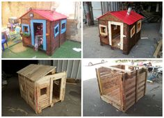 The idea was to build a small playhouse for the kids, using nothing but old pallets. The final house is located in a kinder garden and the kids just love i