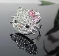 Bling Pink Bow Crystal Hello Kitty Adjustable Ring [ATZRR9]