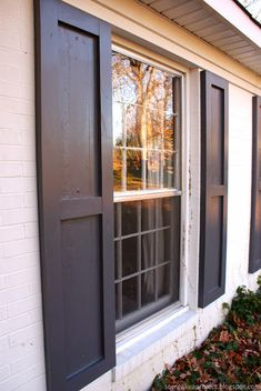 I am super pumped to let you know that our homemade shutters are complete and ha. I am super pumped to let you know that our homemade shutters are complete and have been boosting our curb appeal for almost a week. Modern Shutters, Window Shutters Exterior, Outdoor Shutters, Cedar Shutters, Farmhouse Shutters, Rustic Shutters, Diy Shutters, Repurposed Shutters, Outside Window Shutters