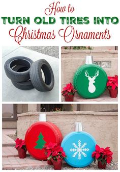 Keep your old set of tires when you get new ones and turn them into these pretty and super cool Christmas ornaments! You can use them for yard decor or have the coolest gift ever at your next ornament exchange!