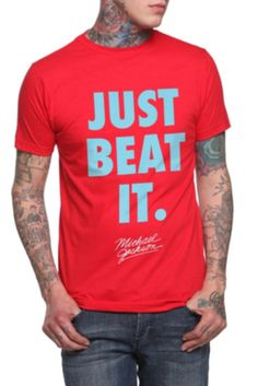 Michael Jackson Just Beat It Slim-Fit T-Shirt $15.38 I don't care if it's a guy shirt. I want it. :)