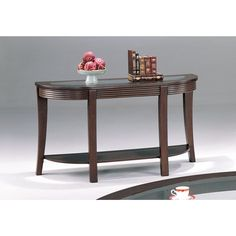 Coaster Company Furniture Simpson Sofa Table with Glass Top (Cappuccino), Brown