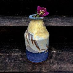 medium size bottle vase decorated with glaze reduction fired Bottle Vase, Stoneware, Glaze, Ceramics, Medium, Beautiful, Home Decor, Enamel, Ceramica