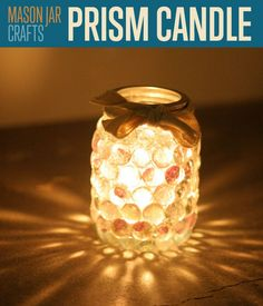 Prism Candle Holder from a Mason Jar, use a Christmasy ribbon